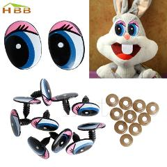 New 5 Pairs(10Pcs) Oval Blue Safety Plastic Eyes Toy Puppets Dolls Eyes 24 x18mm #330