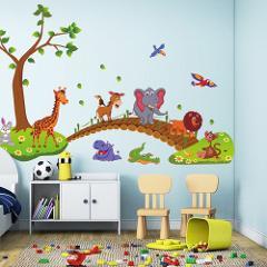 Wall Sticker Kids Bedroom Cartoon Jungle Animals Bridge PVC Wall Stickers Large Size Sticker Children Bedroom Nursery Decoration