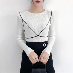 Autumn Winter O-neck Skinny Full Sleeve Knitted Sweater Women Patchwork Knitting Pullovers Fashion Female Knitwear 2019