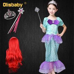 2019 Summer The Little Mermaid Ariel Princess Dress Halloween Easter Cosplay Costume Mermaid Red Wig Beach Dress Sequins Party