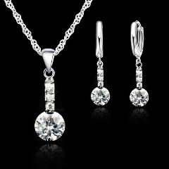 Brand Silver Jewelry Sets For Wedding Fashion Women Austrian Crystal Necklace Earrings Set Accessory