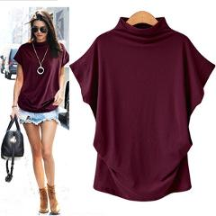 Women Batwing Sleeve Blouse Loose Tops Solid color Turtleneck Shirt Casual Summer Shirt 2019 Shirts Femme Tops Large size 6.28