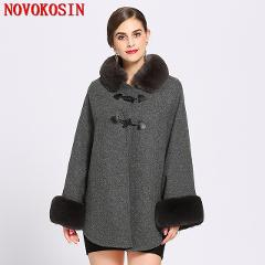 2018 Solid Women Faux Rabbit Fur Collar Cardigan Winter Warm Thick Long Batwing Sleeves Poncho Plus Size Ladies Hairy Coat