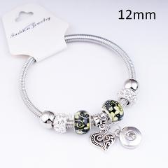 18mm   12mm   love crystal  dog best friend  angel  tree of life  snap button jewelry  Elastic  bracelet   BC5701