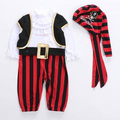Halloween Baby Boys Striped Clothes Pirate Captain Child Boy Set Children's Costume Dance Cosplay Kids Girls Cotton Romper