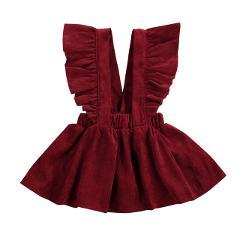 1-6T Kid Baby Girls Velvet Suspender Skirt Infant Toddler Ruffled Casual Strap Sundress Summer Outfit Clothes
