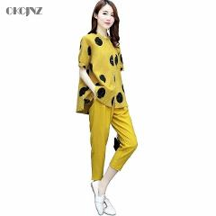 Casual Plus Size Cotton Linen Ankle-Length Pants Suit 2 Piece Set Women Tracksuit Summer Sport Suit Sweatsuit Dot Pattern OKQ330