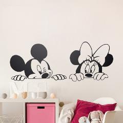 Cartoon Mickey Minnie Mouse Vinyl Wall stickers,removable nursery wall art,free ship
