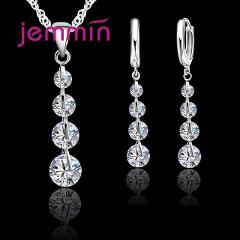 Genuine 925 Sterling Silver Clear Cubic Zirconia Link Chain Crystal Pendant Jewelry Set For Women Bridal Choker Wedding