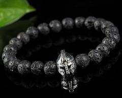 New Fashion Black Lava Rock Helmet Charm Stone Men Beaded Roman Knight Spartan Warrior Gladiator Bead Mala Yoga Elastic Bracelet
