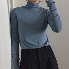 Tee Shirts Women spring autumn New Korean Harajuku solid Turtleneck T-shirt slim Long Sleeve black white T-shirts Casual Tops