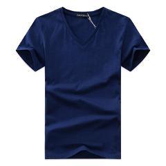 2019 summer Hot selling Men printing V neck t-shirt cotton short sleeve tops quality Casual Men Slim Fit Classic Brand t shirts