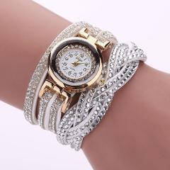 Duoya 2020 New Brand Bracelet Watches Women Luxury Crystal Gold Alloy Dial Leather Band Dress Wristwatches Clock Quartz Watch Q1