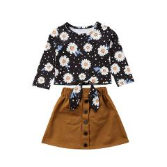 1-6Y Pretty Sweet Toddler Baby Girls Clothes Sets 2PCS Long Sleeve Sunflowers Print T-Shirts Tops Brown Mini Skirts