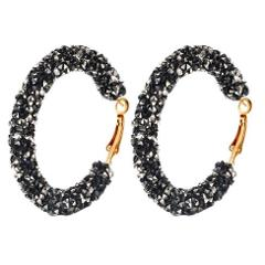 WKOUD Earrings Wholesale Punk Fashion Earrings White / Black / Blue Simple Wild Crystal Circle Matte Ladies Hot Sale Earrings