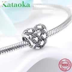 New 925 Sterling Silver fashion Full of love heart shape charms beads Fit Original Pandora Charm Bracelet Jewelry making