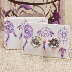 50pcs 3.5*2.5cm flower pattern small earring paper package card handmad elegant stud earring card white kraft paper jewelry card
