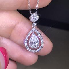 Solid 925 Sliver Necklace Real Diamond Pendant for Women Wedding Bizuteria Topaz Gemstone Jewelry Pendant Sliver S925 Necklaces