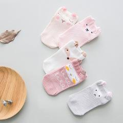 YWHUANSEN 5 Pairs/lot Summer Mesh Socks For Newborns Baby Cute Cartoon Socks For Girls Thin Soft Cotton Boy Child Socks Infants