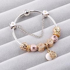 For Girl Gift Animal Mickey Charm Bracelets & Bangles Women Jewelry Minnie Pink Bow-Knot Pendant Brand Bracelet DIY Handmade