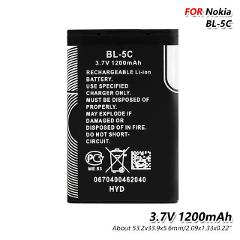 High Quality BL5C 1200mAh Lithium BL-5C BL 5C Phone Battery Replacement For 6680 6681 6682 7600 7610 N70 N71 N72 N91 3105 3120