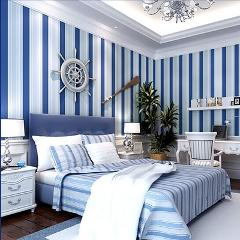 beibehang Mediterranean blue vertical stripe papel de parede 3d wall murals wallpaper for living room papel de parede para sala