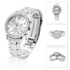 Geneva Quartz Analog Stainless Steel Band Lady Women Crystal Wrist Watch Steady