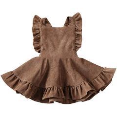 Baby Girls Clothes Velvet Suspender Dress Infant Toddler Ruffled Casual Strap Sundress Summer Girls Suspender Dress Overalls