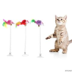 Cute Interactive Bottom Sucker Elastic Spring Feather False Mouse Cat Scratching Game Playing Toy Pet Kitten Dog Supply Products