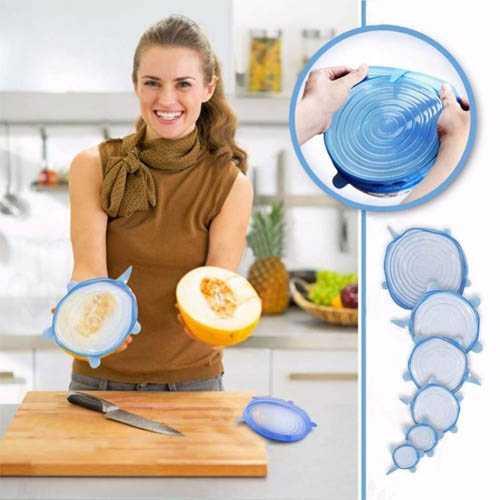 סט 6 כיסויי סיליקון אלסטיים לכיסוי קערות, צלחות וכוסות