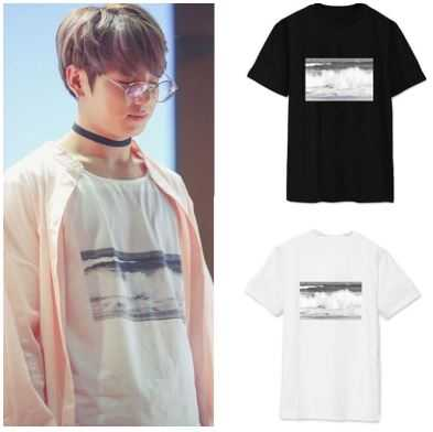 um membru din trupa BTS si doua tricouri in doua culori