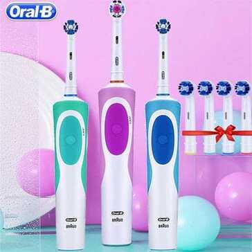 מברשת שיניים חשמלית של חברת Oral B עם ראשים להחלפה, בעלת סיבים רכים המנקים את הפלאק מהשיניים ללא פגיעה בחניכיים