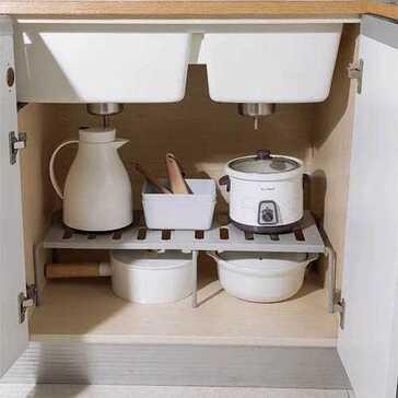 מדף יציב העוזר לארגון הבית, מתאים לסידור ארוניות, מוצרי מטבח ועוד