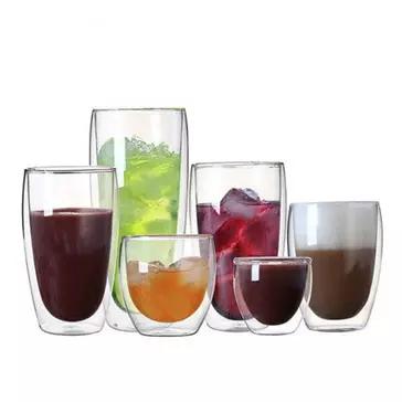 כוסות זכוכית מהממות עם דופן כפולה, עמידות לחום, במגוון גדלים