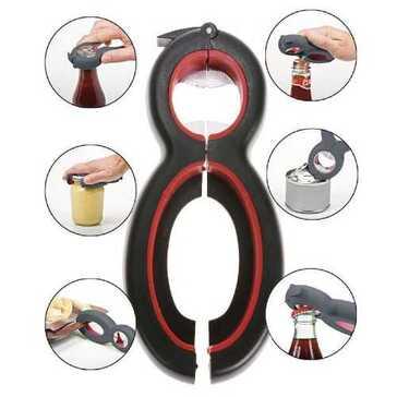 פותחן רב שימושי למטבח שמחליף שישה כלים אחרים - פותח מכסי צנצנות, קופסאות שימורים, בקבוקי זכוכית, בקבוקי יין - רק 12.4 שקלים