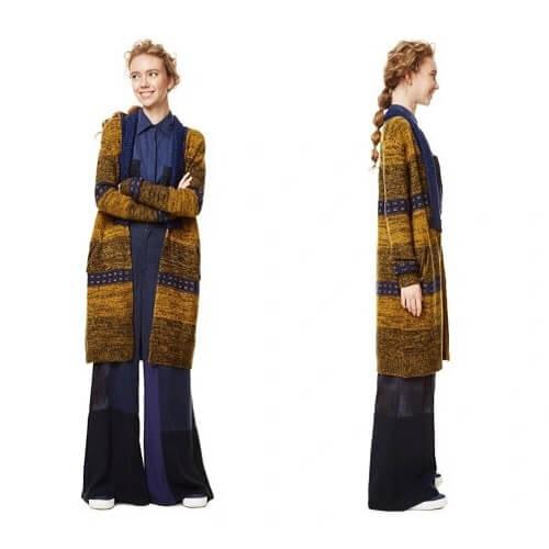 תמונת חזית ופרופיל של דוגמנית בלונדינית לבושה קרדיגן ארוך לנשים של דסיגואל