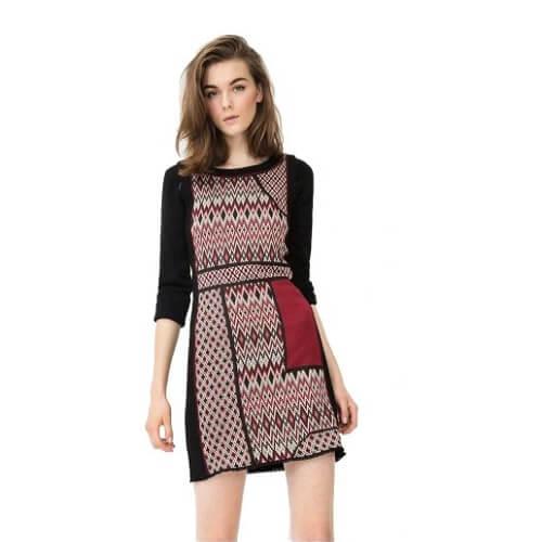 שמלת מיני שלושה צבעים של דזיגואל Desigual